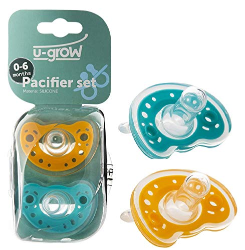 U-Grow Silicone Baby Pacifiers (6-18 Months) Set of 2