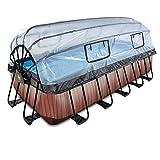 EXIT Piscina de madera de 540 x 250 x 122 cm, con cubierta y filtro de arena y bomba de calor, color marrón