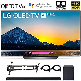 """LG OLED65B8PUA 65"""" Class B8 OLED 4K HDR AI Smart TV OLED65B 2018 Model, LG SK8Y 2.1 ch High Res Audio Sound Bar, Wall Mount, 2HDMI Cables. LG Authorized Dealer."""