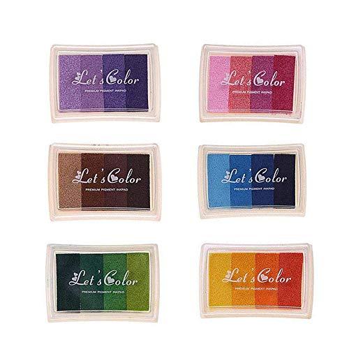 Almohadillas De Tinta, Almohadilla De Arco Iris 6 Piezas DIY Artesanía 24 Colores, Almohadilla De Tinta De Gradiente De Dedos No Tóxica Adecuada para La Pintura De Huellas Dactilares (6 Piezas)