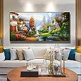 5D DIY Diamond Painting para adultos,Casa por río pintura diamantes de imitación de cristal completo grande bordado punto de cruz mosaico Art Crafts for Home Wall Decor Gifts-40x80cm/16x32in