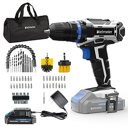 Bielmeier Cordless Drill Set, 20V MAX Lithium-Ion Power Drill Cordless, Electric Drill with Variable Speed, LED and 58pcs Drill Bits (BCDK-58)