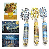 Small Jigsaw Puzzles for Adults Mini Puzzles Challenging Difficult Puzzles Starry Night Rhone River Sunflower 150 Pieces Tiny Puzzles Home Decor Entertainment 6 x 4 Inches, 3 Pack