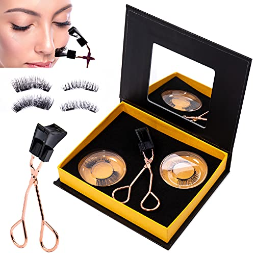 Dual Magnetic Eyelashes, Ultra Thin Handmade Magnet eyelashes, False Lashes Extension with Applicator (2 Pack/ 8 Pieces)