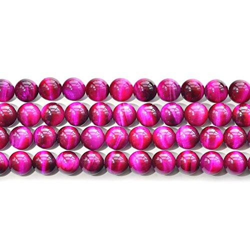 AAA oro amarillo rojo azul verde rosa Multi cuentas de perlas de piedra natural de Ojo de Tigre Gemstone sueltos para fabricación de joyería 6mm 8mm 10mm 12mm por ruilong, rosa (b), 12 mm