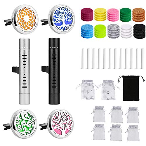 Car Diffuser Vent Clip 6 PCS Aromatherapy Car Vent Clips Alloy Essential Oil Car Diffuser Lockets with 12 Refill Sticks &40 Felt Pads Gift for Women/Men