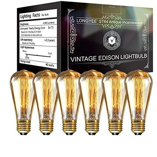 Bombilla vintage de LONGYEE, E27, 40W, regulable, filamento de tungsteno, 220V, 6unidades