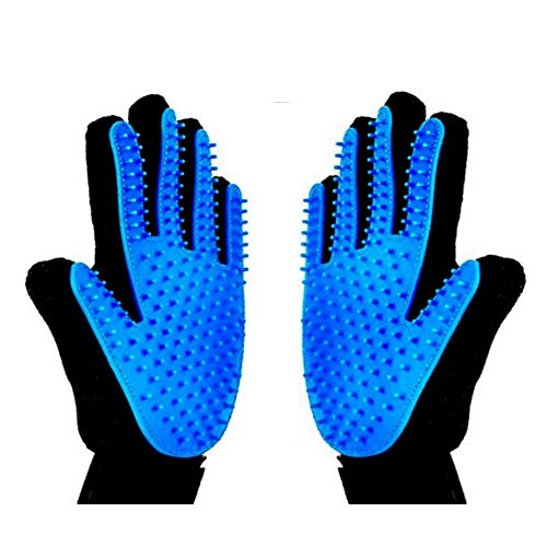 xjzx [Upgrade Version 2PCS Pet Grooming Glove - Gentle Deshedding Brush Glove - Efficient Pet Hair Remover Mitt - Massage Tool with Enhanced Five Finger Design - Perfect for Dogs & Cats, Blue