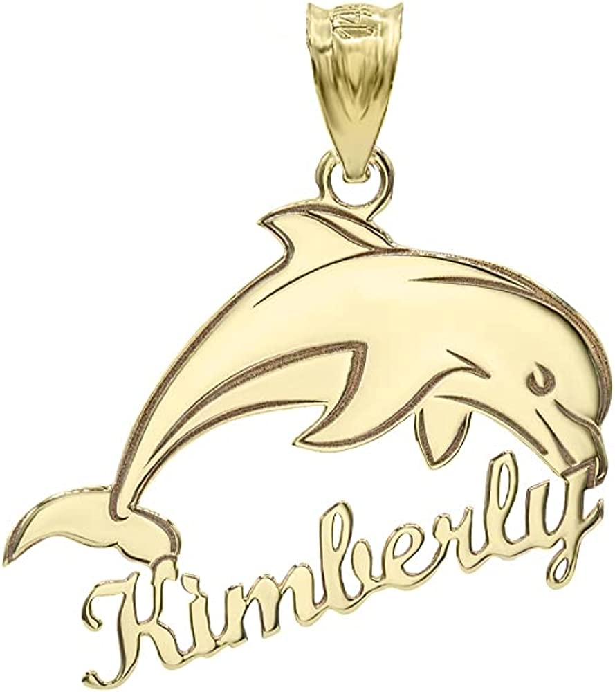 Certified 10k Yellow Gold Engravable Personalized Jumping Dolphin Pendant with Your Name
