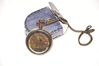 Buddha4all Battery Powered Hand Made Stylist Pocket Watch with Leather Case Pouch Purse Collectible Antique Nautical Decor Astrolabe Brass Watch Protection Case