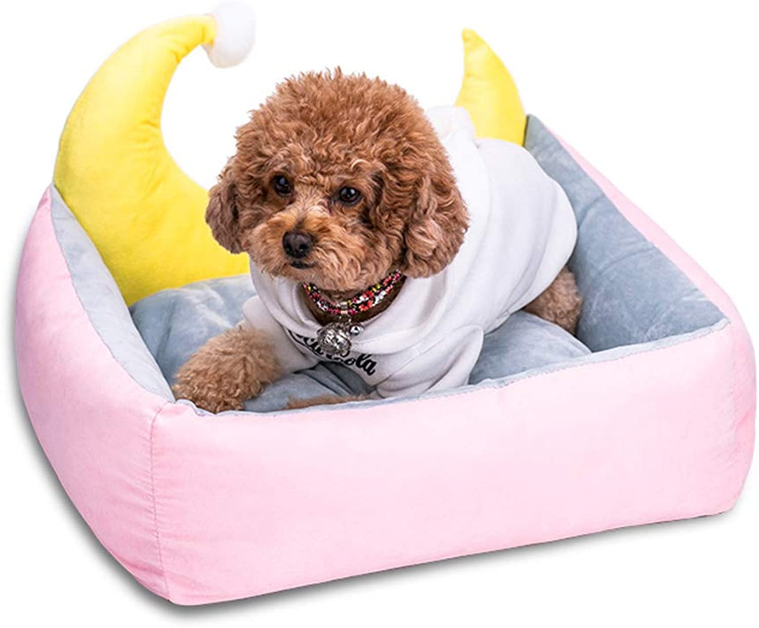 Half Moon Bend Pet Bed, Deer Leather Velvet Dog Beds for Medium Small Dogs  Self Warming Indoor Orthopedic Cuddler Dog Bed with Fully Removable and Washable Cover,Pink,L