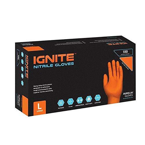 Guantes de nitrilo Ignite con textura de diamante, sin talco, color naranja (100, tamaño L)