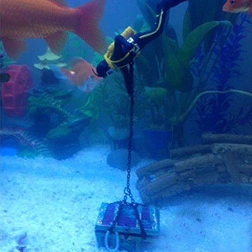 2pcs Schwarz Taucher für Luftblasen Aquarium Fish Tank Deko, Treasure mit Schatzsucher Figur