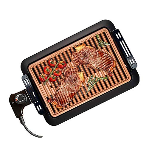 L.TSN Planchas eléctricas, Parrilla eléctrica sin Humo y sartén para Asar en el Interior de su Cocina Control de Temperatura Digital Temporizador de cocción para barbacoas: bistecs, etc.