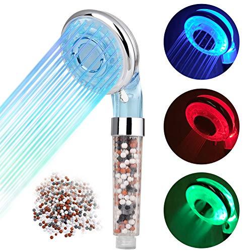 Diyife Alcachofa para Ducha,Cabezal de Ducha LED 3 Colores Cambiantes Temperatura Controlada Alta Presión Rociador Iónico Negativo Doble Filtro Cloro Ahorro de Agua