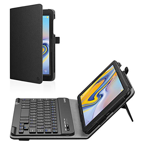 Fintie Folio Keyboard Case for Samsung Galaxy Tab A 8.0 2018 Model SM-T387 Verizon/Sprint/T-Mobile/AT&T, Premium PU Leather Stand Cover with Removable Wireless Bluetooth Keyboard, Black
