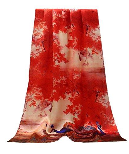prettystern - 180 cm Foulard Donna 100% Raso di Seta Crepe Puro Bordi Arrotolati a Mano L'acero Rosso Lascia Il Pavone