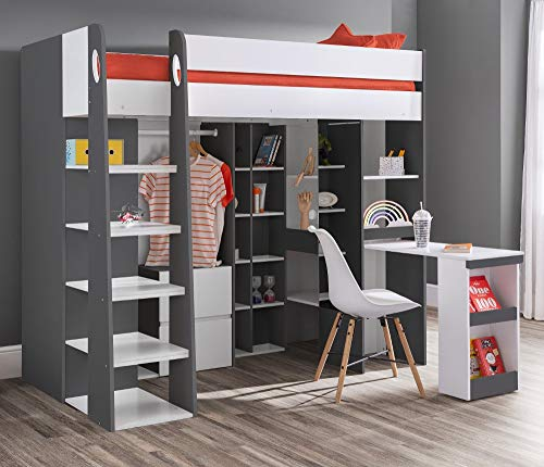 High Sleeper Storage Bed, Happy Beds Aurora White Wood Desk, Cupboard, Wardrobe and Drawers Loft Bed Frame