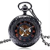 N/ A Reloj de Bolsillo Vidrio Retro Número Romano Reloj de Bolsillo mecánico Fob Colck Collar Bold Hombre Mujer Regalo