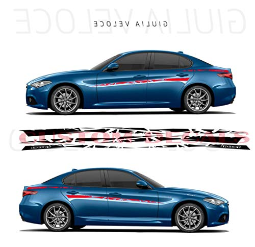Gráfico de diseño exclusivo para Alfa Romeo Giulia | Giulia Decals | Kit de pegatinas Alfa Romeo | Pegatinas Alfa Romeo, negro, 11 colores