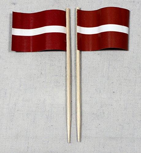 Buddel-Bini Party-Picker Flagge Lettland Papierfähnchen in Profiqualität 50 Stück 8 cm Offsetdruck Riesenauswahl aus eigener Herstellung