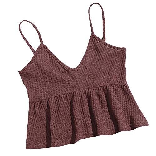 Kpasati Damen Hosenträger rückenfrei V-Ausschnitt einfarbig atmungsaktiv Puppenrock sexy Mädchen Einfach zu findenTop