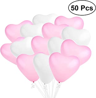 NUOLUX 50pcs Heart Shaped Latex Balloons for Wedding Birthday Party Decoration