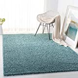 SAFAVIEH Primo Shag Collection PRM300J Solid Non-Shedding Living Room Bedroom Dining Room Entryway Plush 1.2-inch Thick Area Rug, 8' x 10', Aqua
