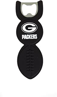 Team Sports America NFL Green Bay Packers Logo Black Silicone Football Bottle Opener, Small, Multicolored