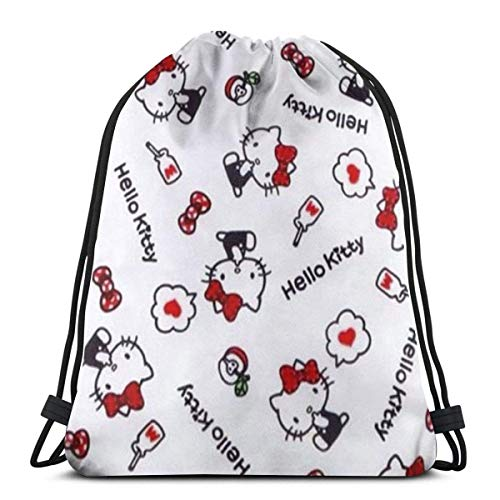 Bolso clásico con cordón Hello Kitty Gym Mochila Bolsas de hombro Deporte Bolsa de almacenamiento para hombre y mujer