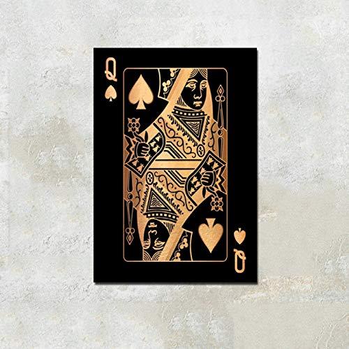 Cartas de póquer, pinturas en lienzo, arte de pared, decoración del hogar, imágenes de póquer, impresiones en HD, carteles de decoración de Club Casino bar restaurante (LQ-505) 40x60cm Sin marco