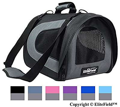 """EliteField Deluxe Soft Pet Carrier (3 Year Warranty, Airline Approved), Multiple Sizes and Colors Available (18"""" L x 10"""" W x 11"""" H, Black+Gray)"""