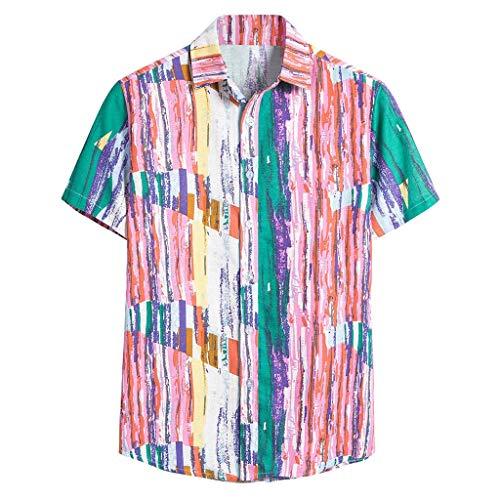 Yowablo Herren Kurzarm Shirt Einfarbig Freizeithemd Casual Hemden Leichte Atmungsaktives Bequem Leinen Sommerhemden Loose Fit (XXL,8Rosa)