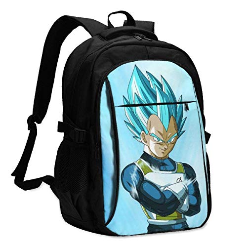 HOIH Multifunctional Laptop Backpack with USB Charger Port for Unisex Adult Japanese Anime Vegeta Iv Business Backpacks Anti Theft Laptop Bookbag