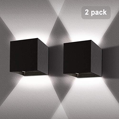 LEDMO 2 Pcs Apliques pared LED 12W, Aplique pared exterior 6000K Blanco frío Impermeable IP65, Lámpara de pared interior moderna 1000lm Ángulo ajustable Negro