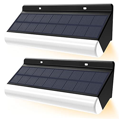 Lámpara de pared LED inalámbrica de control remoto CLY, temperatura de color ajustable, luz de energía solar 3000mAh IP67 lámpara de pared solar IP66 para decoración de jardín (2pcs)