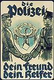 FS Retro Die Polizei Dein Fre& & Helfer Blechschild Schild gewölbt Metal Sign 20 x 30 cm