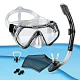 tropisport | Kit de plongée avec tuba et masque de plongée – Comprend un masque de plongée anti-buée, un sac en filet, des bouchons d'oreille, un pince-nez (noir).