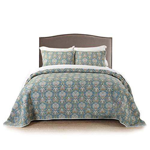 LMXJB 3-delige lichtgewicht gewatteerde quilt kingsize set met 2 kussenslopen, schoppen Marokkaanse Neutraal olijf groen blauw, traditionele stijl Paisley bloemige damast sprei dekbedovertrek sprei beddengoed gooi - 94X102''