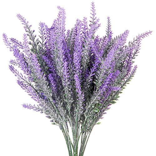6 Pcs Artificial Lavender Plants Fake Faux Plastic Silk Flowers Bouquets for Home Living Room Kitchen Patio Garden Wedding Party Table Decor