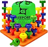Stacking Peg Board Set Toy | 30 Pegs & Board + Free Storage Bag | STEM Color Learning Sorting Matching Game Montessori Occupational Therapy Fine Motor Skills Toddlers Preschool Boys Girls