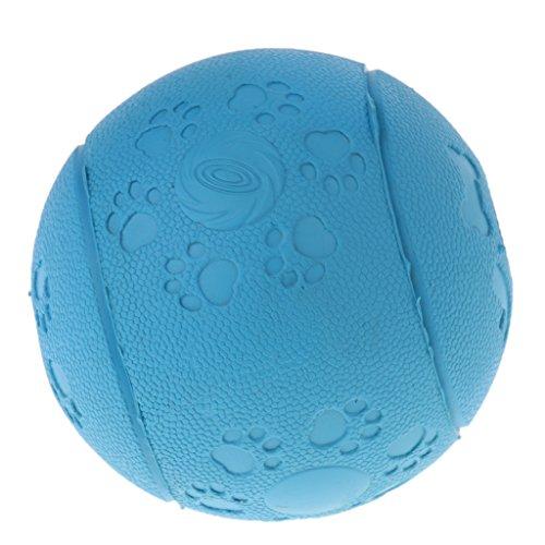 Hunde Gummiball Unkaputtbarer Hundeball Hundespielball Leckerliball mit Zahnpflege-Funktion mit Loch für große/mittlere/kleine Hunde - Blau