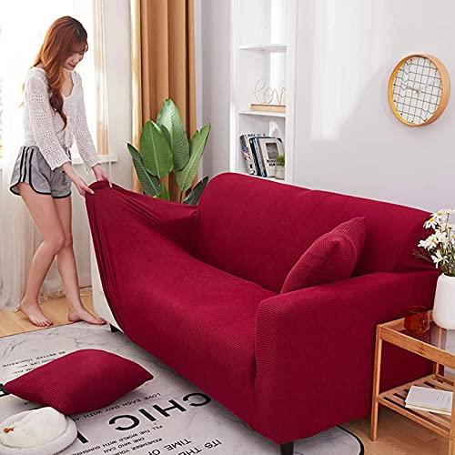 Funda de sofá de alta elasticidad, fundas de sofá seccionales, protector de muebles para mascotas y gatos, sala de estar, color rojo S: 90-140 cm