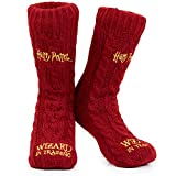 Harry Potter Calcetines Mujer Antideslizantes, Calcetines Mujer Invierno de Punto Para Estar por Casa, Ropa Mujer Invierno, Regalos Para Mujer Adolescentes (Burdeos)