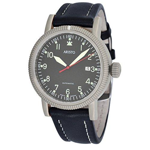 ARISTO Reloj automático de hombre de aviador 3H83, calibre automático Aristomatic SW200, mecanismo de acero inoxidable, correa de piel negra, sumergible hasta 5 ATM.