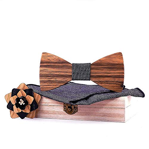 Hombres Pajarita Set Corbata de lazo hecho a mano de los hombres de madera con Pocket Square Hombres