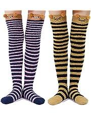LittleForBig Leuke Dierlijke Koraal Fleece Dij Hoge Lange Gestreepte Sokken 2 Paar