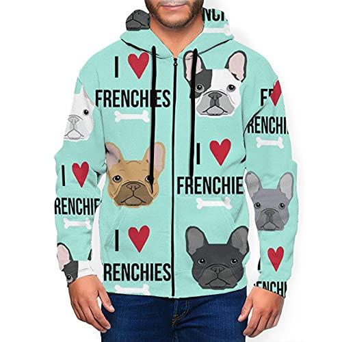 Frenchie Dog Men'S Hoodies 3d Printed Zip Sweatshirt Pullover Pocket Jacket Black