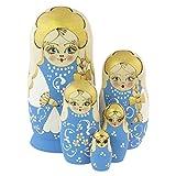 Azhna Lot de 5 poupées russes russes 15 cm - Souvenir - Matriochka - Collection de décoration d'intérieur - Poupées russes brûlées et peintes à la main - Bleu clair