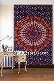 Handicraft Bazar Tapisserie, 213 x 132 cm, Baumwolle, Mandala-Wandteppich, Wandteppich, Heimdekoration, traditioneller indischer Druck, Wanddekoration, Bettlaken, Überwurf, Wandteppich